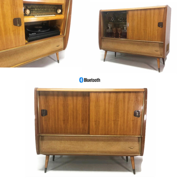 The Vintedge Co™ - VintedgeCo™ - TURNTABLE READY SERIES™ - KORTING DELMONICO Mid Century Stereo Console Turntable Record Player Cabinet w/WHISKEY BAR