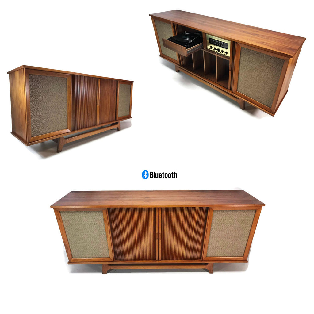 The Vintedge Co™ - CURTIS MATHES DELUXE Door Record Player Changer Stereo Console AM FM Bluetooth