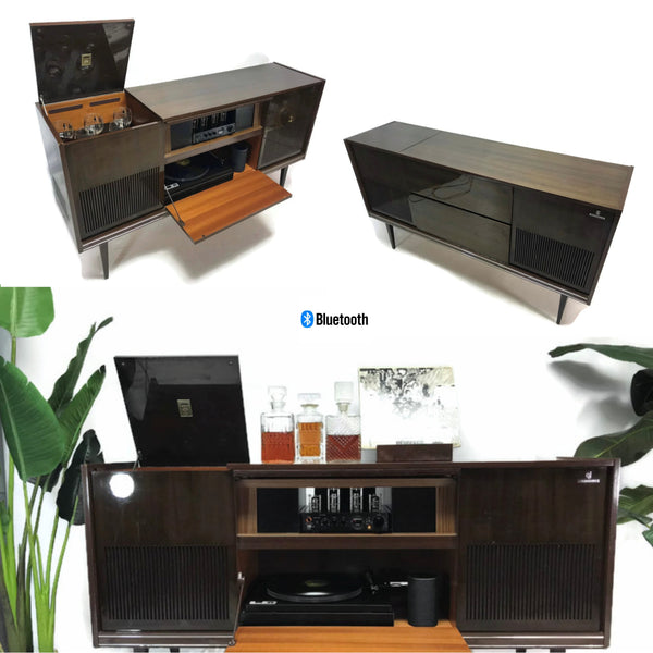 The Vintedge Co™ - GRUNDIG 60s Mid Century Stereo Console Turntable Record Player Cabinet AM FM Bluetooth Amazon Echo Dot