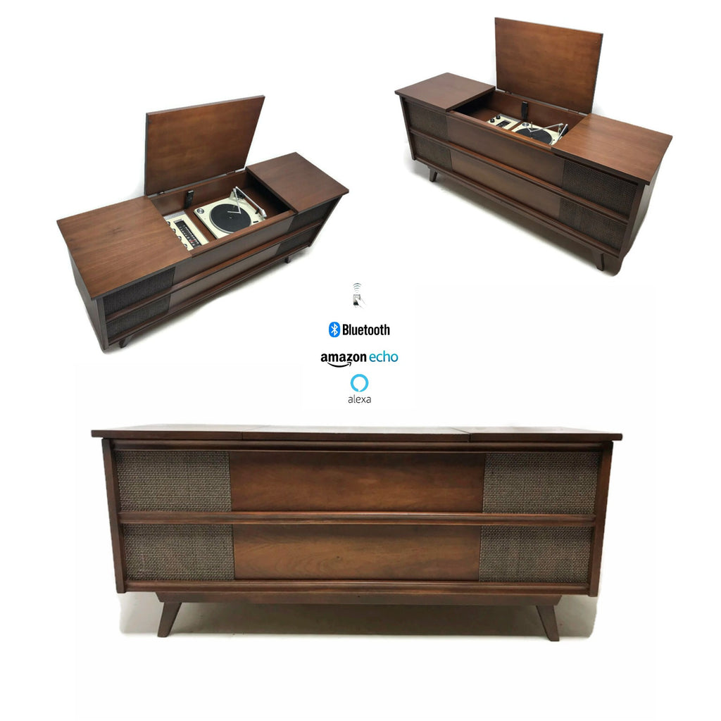 The Vintedge Co™ - PENNECREST Long and Low Mid Century Record Player Changer Stereo Console - Bluetooth