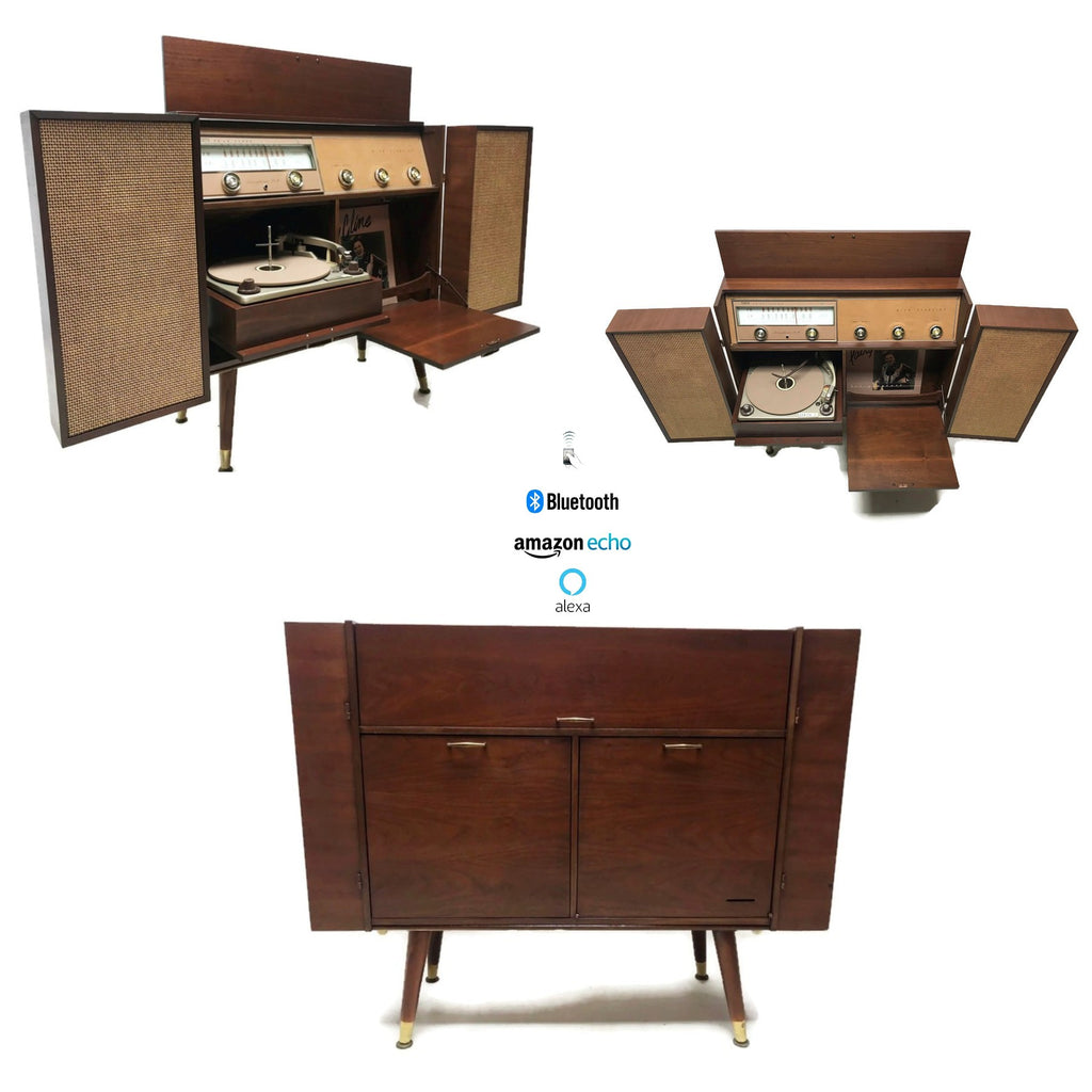 The Vintedge Co™ - Vintage 50s 60s ZENITH Mid Century Record Player Changer Stereo Console w/Flip-Out Speakers - Bluetooth
