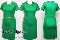 SOLD | 50's Emerald Green Skirt Suit Top XL