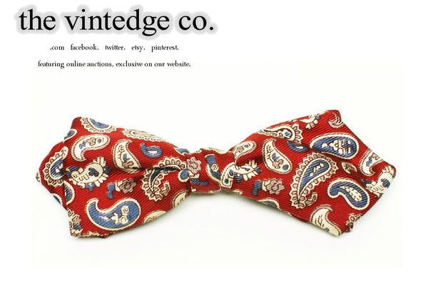 SOLD |  50s 60s Rockabilly Red Paisley Bow Neck Tie