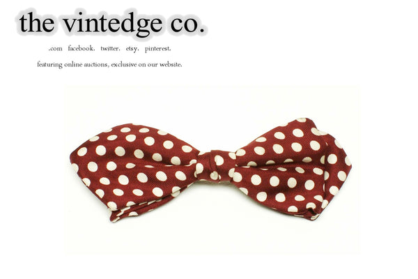 SOLD | 50s 60s Rockabilly Maroon Dots Bow Neck Tie