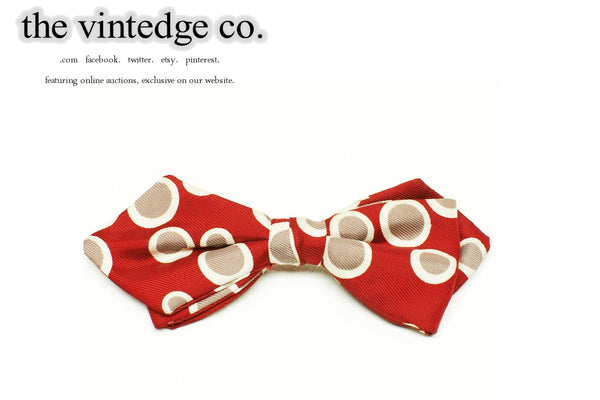 SOLD | 50s 60s Rockabilly Red Beige Dots Bow Neck Tie