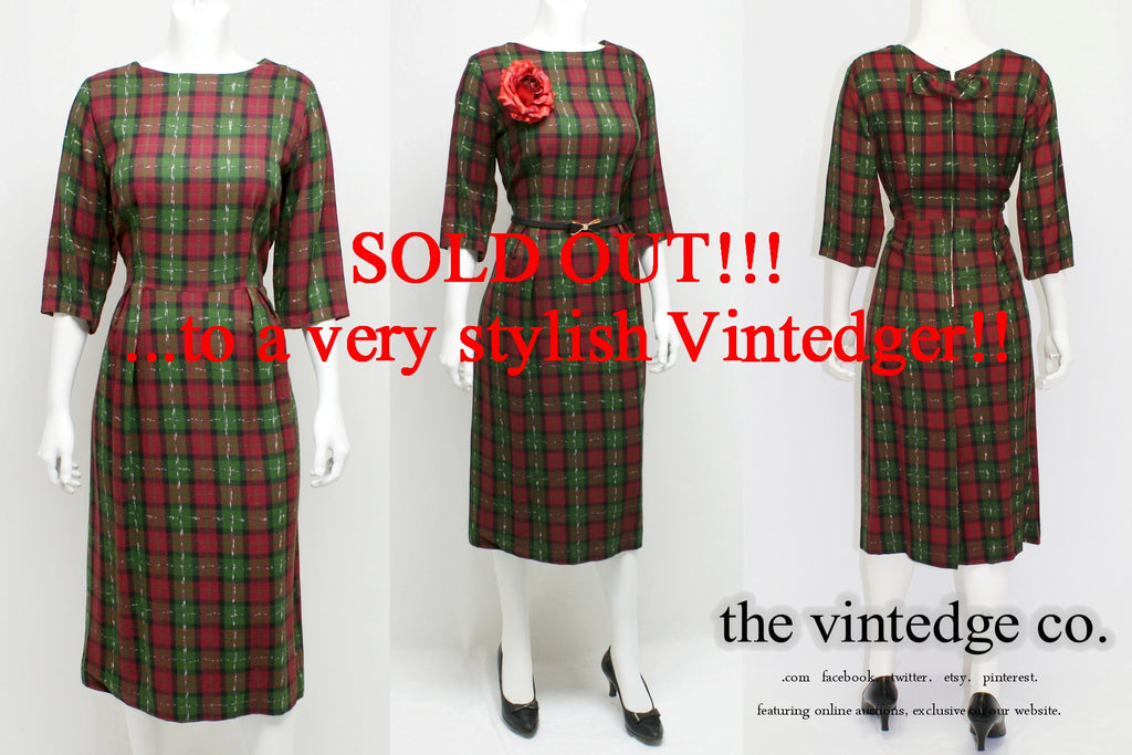 SOLD - 1950's Plaid Dress