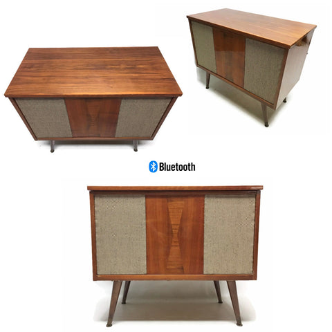**SOLD OUT** VintedgeCo™ - TURNTABLE READY SERIES™ - Mid Century Stereo Console Turntable Record Player DELMONICO Cabinet Bluetooth Alexa