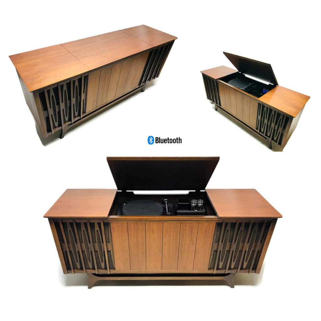 **NOW AVAILABLE** VintedgeCo™ - TURNTABLE READY SERIES™ - Mid Century Stereo Console Turntable Record Player OLYMPIC Cabinet Bluetooth Alexa