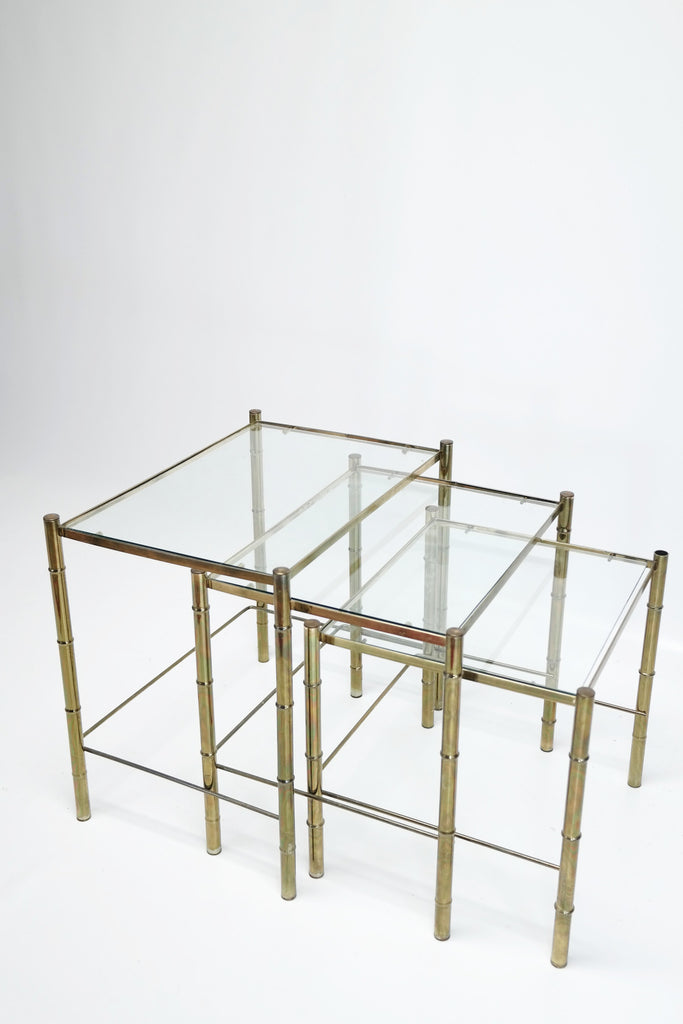 ... Vintage Auction | Hollywood Regency Brass Bamboo Nesting Side Table S|3