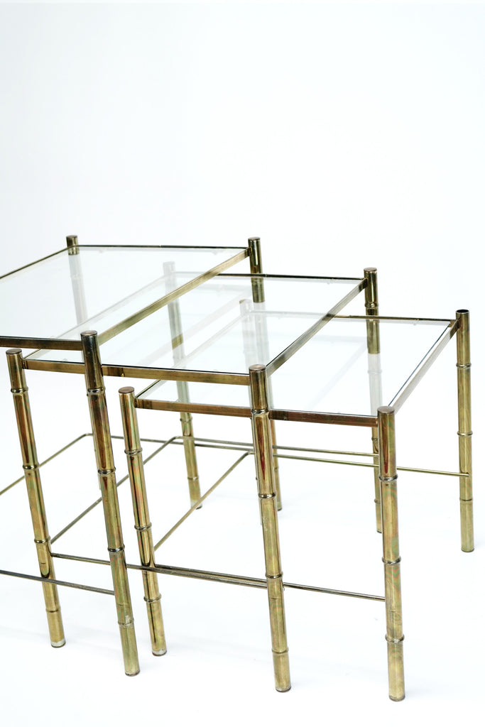 Vintage Auction | Hollywood Regency Brass Bamboo Nesting Side Table S|3