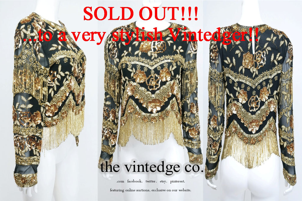SOLD - Vintage Bead Sequin Top