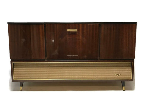 **NOW AVAILABLE** VintedgeCo™ - TURNTABLE-READY SERIES - GRUNDIG 60s Mid Century Stereo Console Turntable Record Player Cabinet Bluetooth
