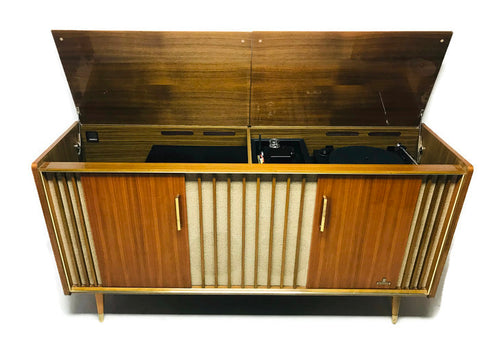 **NOW AVAILABLE** VintedgeCo™ - TURNTABLE-READY SERIES - GRUNDIG 60s Mid Century Stereo Console DRY Whiskey BAR Turntable Record Player Cabinet Bluetooth