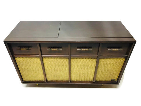 **NOW AVAILABLE** VintedgeCo™ - TURNTABLE READY SERIES™ - Mid Century Stereo Console Turntable Record Player ARVIN Cabinet Bluetooth Alexa