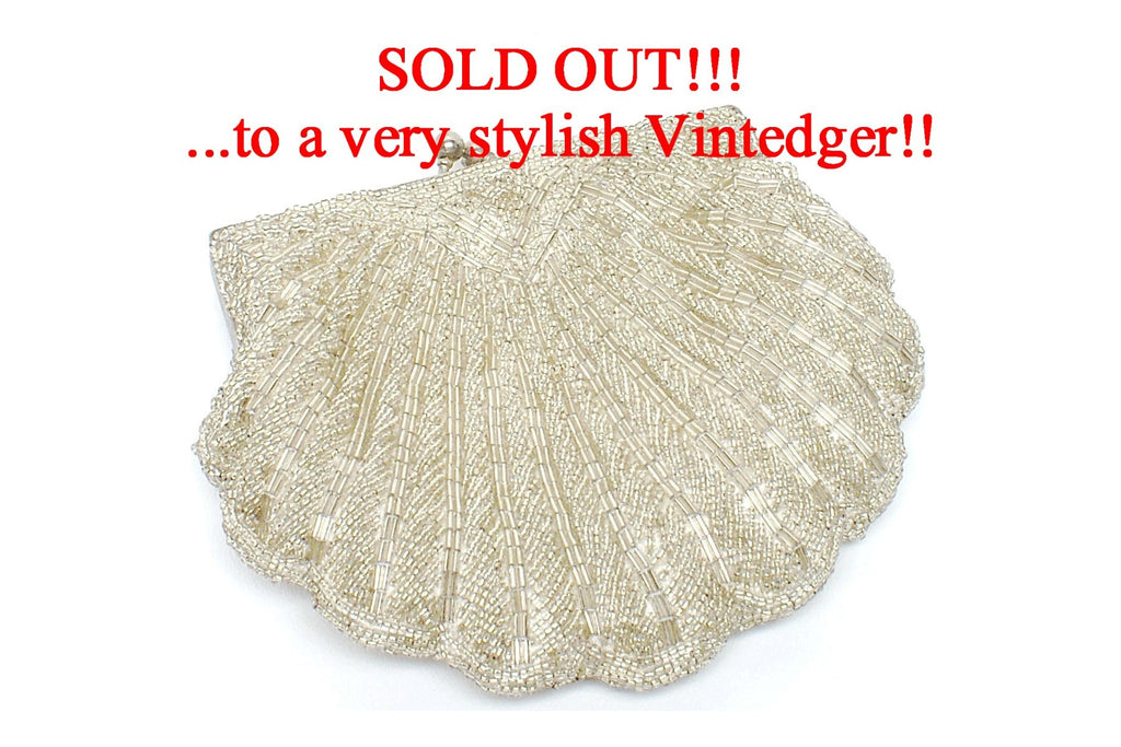 SOLD -  Vintage Bead Bridal Clutch
