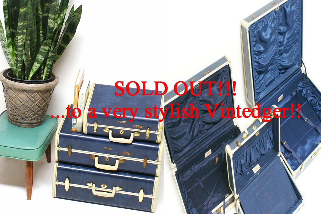 SOLD - 1950's Mid Century Luggage Set - S/4