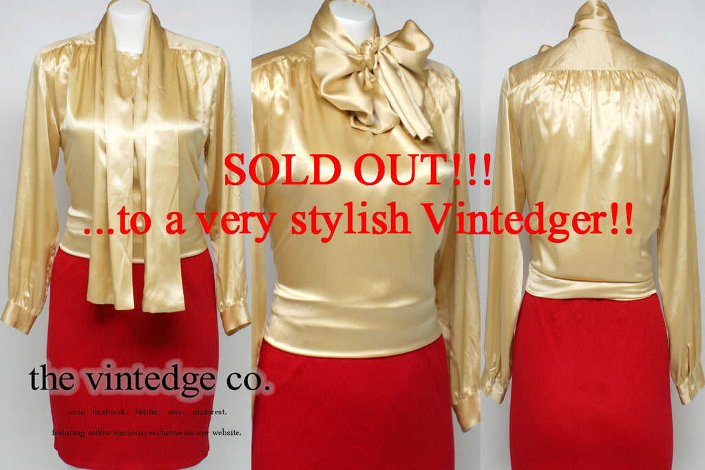 SOLD - Vintage Gold Ascot Blouse