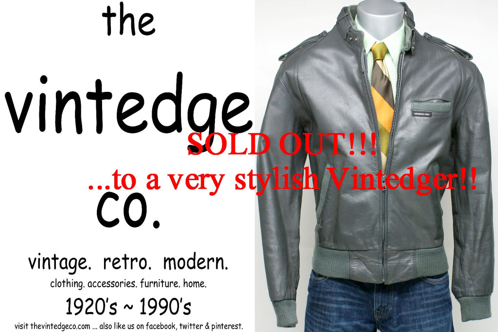 SOLD - 70s Mens Leather Cafe Jacket