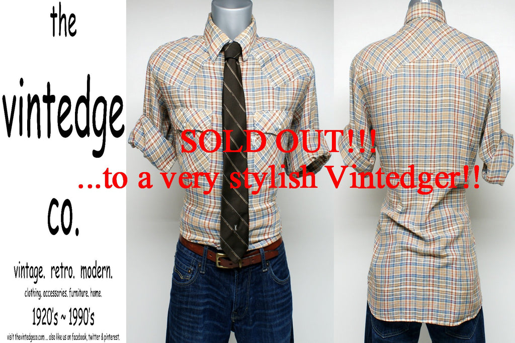 SOLD - 70's Mens Plaid Shirt