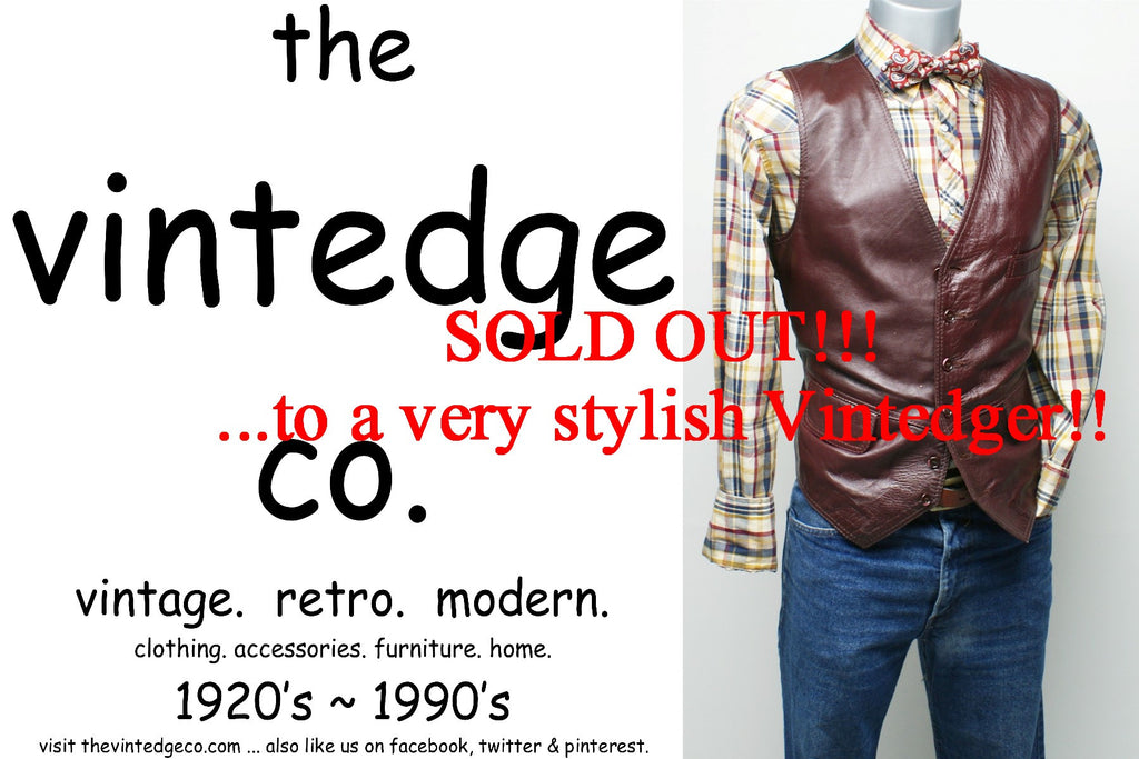 SOLD - Vintage Mens Leather Vest Coat