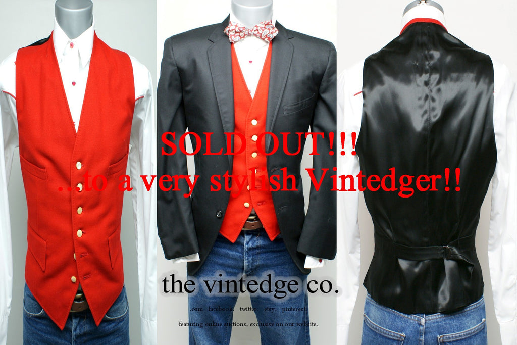 SOLD - Vintage Mens Red Vest