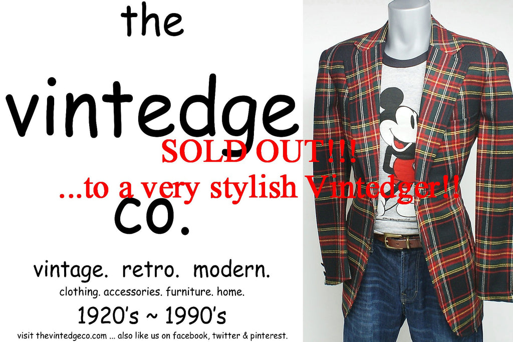 SOLD - Vintage Mens Plaid Blazer