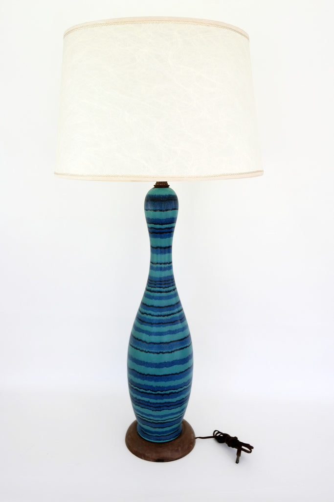 SOLD | MCM Turquoise Striped Genie Lamp