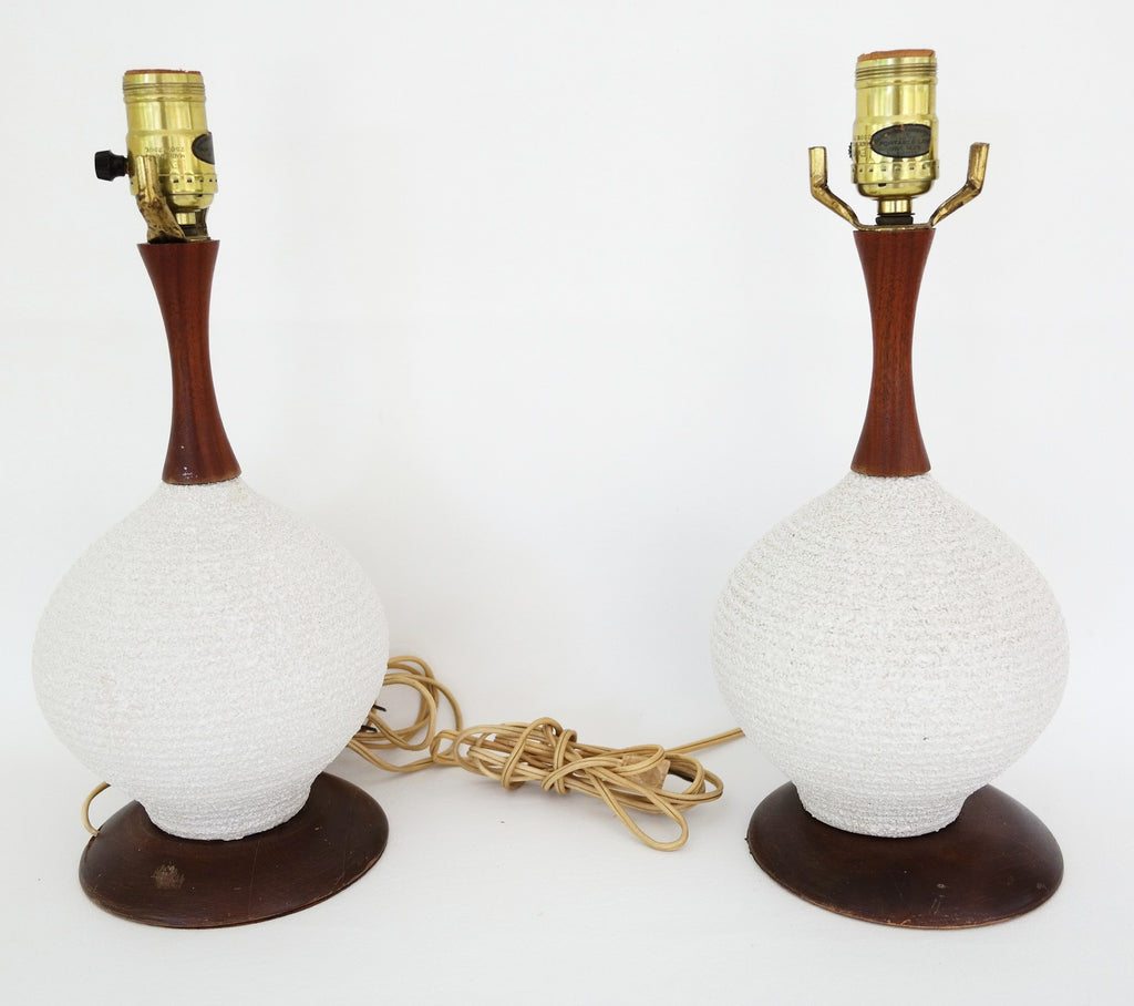 SOLD | MCM Small Round Lamps S|2