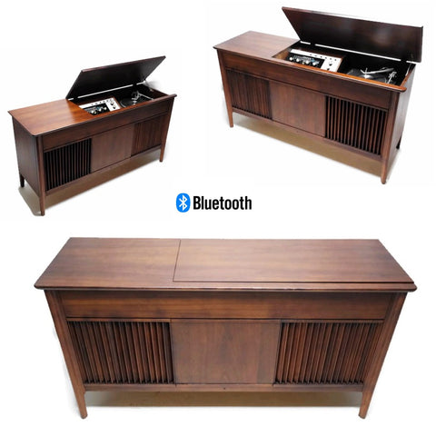 **NOW AVAILABLE** PILOT Mid Century DELUXE Stereo Console Record Player Changer AM FM  - Bluetooth