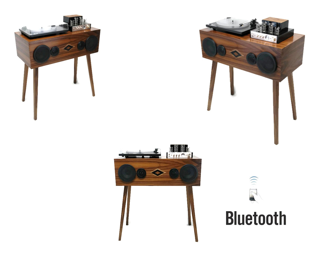 **SOLD OUT** VintedgeCo™ - EXCLUSIVE CUSTOM SERIES -  Mini-PREMIER™ Console Record Player in WALNUT - Turntable - Tube Amplifier - Bluetooth