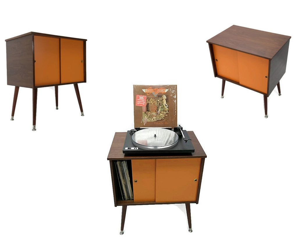 **NOW AVAILABLE** The Vintedge Co™ Mid Century Retro Record Player Stand LP Storage Cabinet - Retro Orange Doors