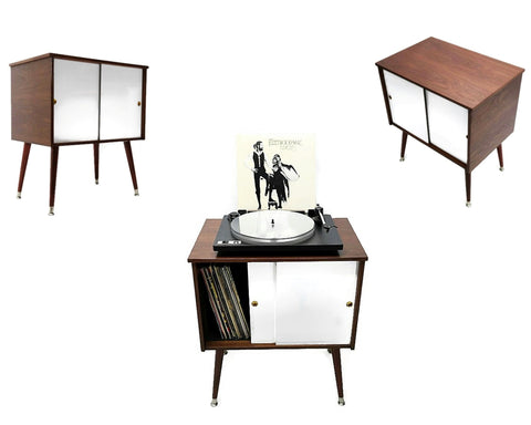 **NOW AVAILABLE** The Vintedge Co™ Mid Century Retro Record Player Stand LP Storage Cabinet - White Doors