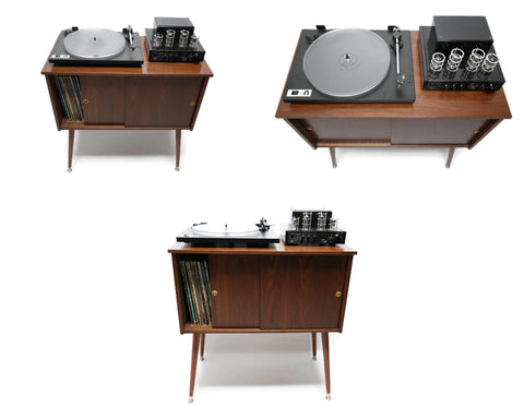 "**NOW AVAILABLE** The Vintedge Co™ Mid Century Retro Record Player Stand LP Storage Cabinet - Medium - 30"" Length"