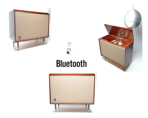 Mid Century Modern STEREO CONSOLE- 50's - Mid Century Webcor Concerto Record Player Changer - Bluetooth - AM FM