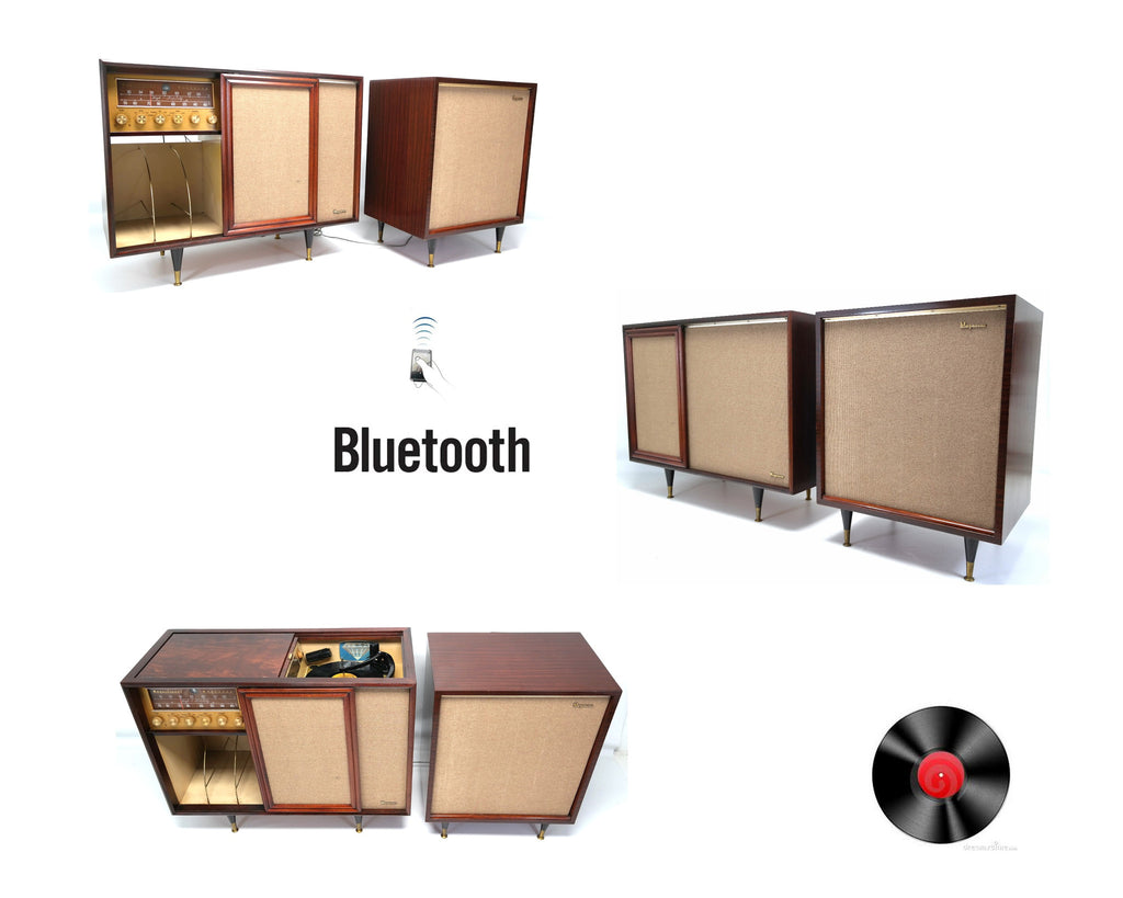 Mid Century Modern Magnavox Stereo Console with Extension Speaker - Record Player - Bluetooth - Tuner
