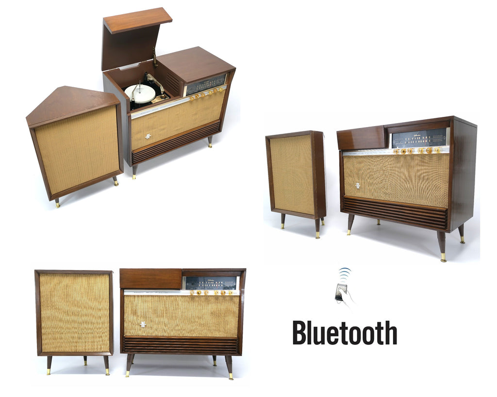 Mid Century Modern STEREO CONSOLETTE- 60's - Record Player - Bluetooth - AM/FM Tuner