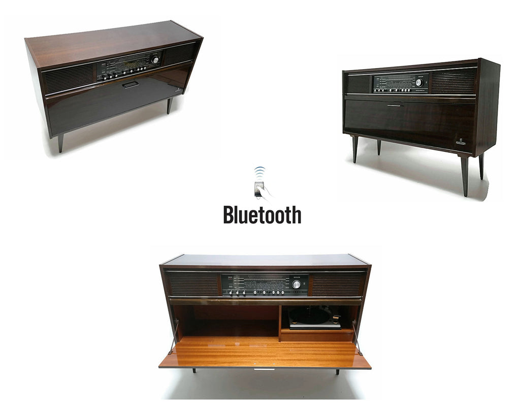 SOLD | 60's Grundig Vintage Record Changer Stereo Console - AM/FM Tuner - Bluetooth