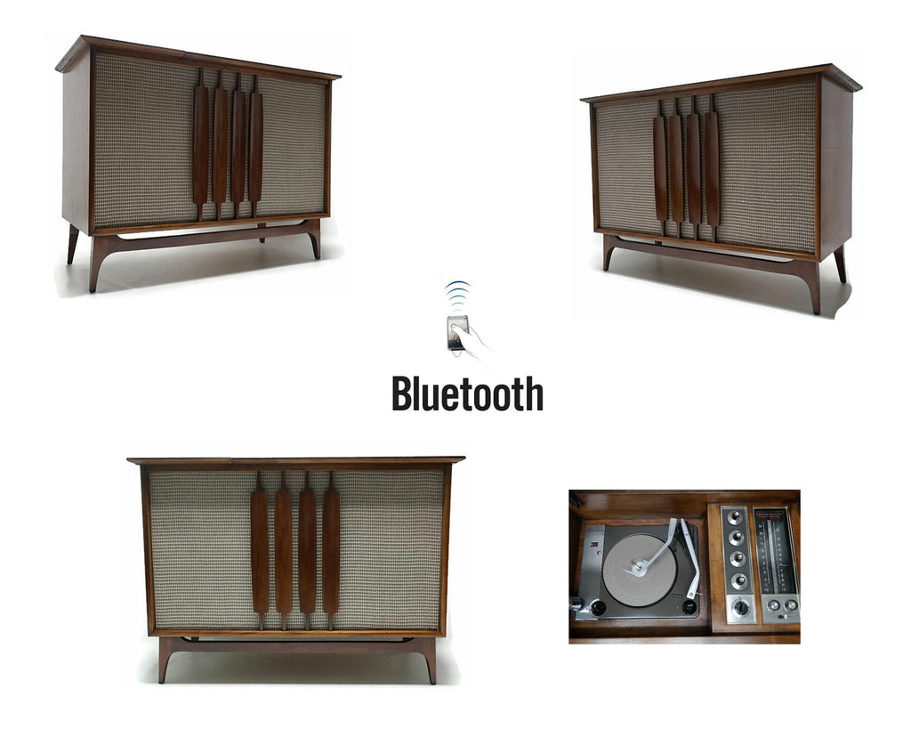 Mid Century Modern Westinghouse Vintage Stereo Console - Record Changer - AM/FM Tuner - Bluetooth