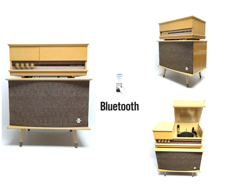 Mid Century Modern Silvertone Consolette Record Player and bluetooth