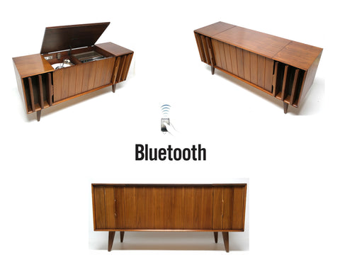 Mid Century Stereo Console Zenith   Bluetooth   FM Tuner   Record Changer  FULLY RESTORED