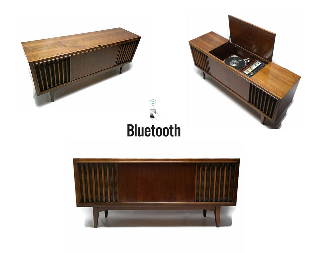 Mid Century Modern Zenith Vintage Stereo Console - Record Player Changer - AM/FM Tuner - Bluetooth