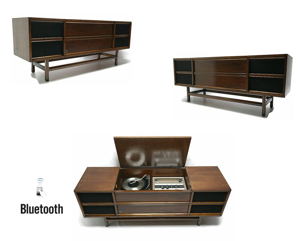 Mid Century Modern GE Long and Low Vintage Stereo Console - Record Player Changer - AM/FM Tuner - Bluetooth