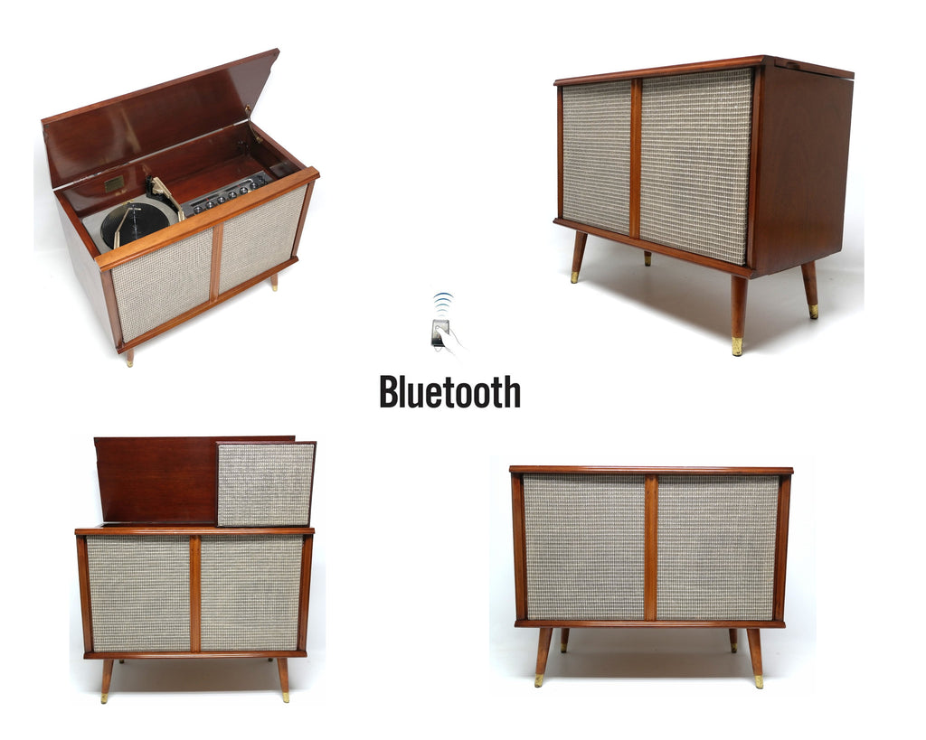 VINTAGE Mid Century SilverTone Mini Consolette - Bluetooth - AM/FM - Record changer MINI Record Player