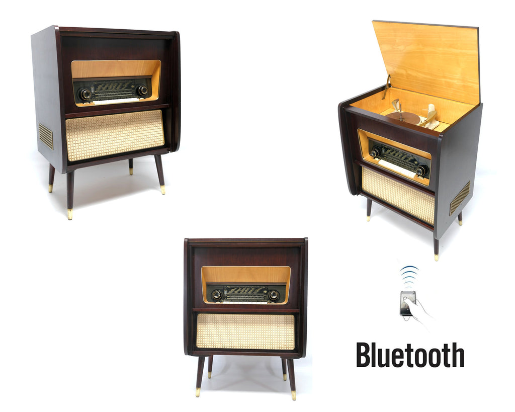 Mid Century EMUD 713 Stereo Console Record Player - Bluetooth iPod iPhone Android Input AM/FM Tuner