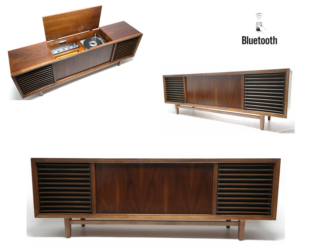 Mid Century Modern Philco Stereo Console Long and Low Record Player - Bluetooth iPod iPhone Android Input AM/FM Tuner