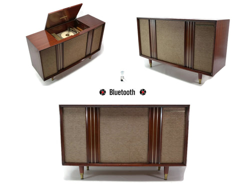 **NOW AVAILABLE** MOTOROLA 3-Channel Vintage Mahogany Record Changer Player Stereo Console