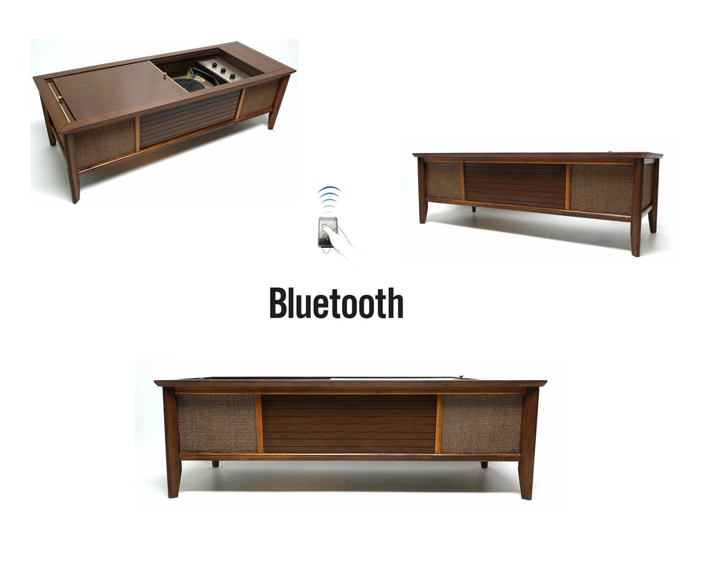 Mid Century Modern Coffee Table  Stereo Console Record Changer - Bluetooth - Tube Amplifer