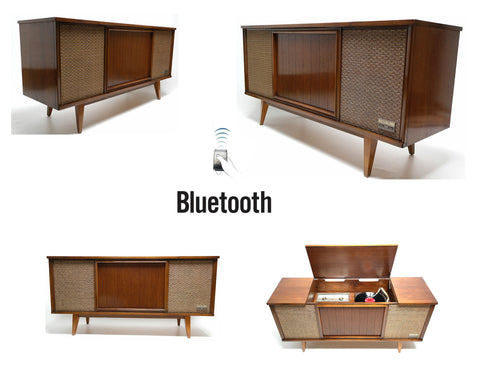 Mid Century Modern Stereo Zenith Console Record Changer - AM/FM- Tuner - Bluetooth
