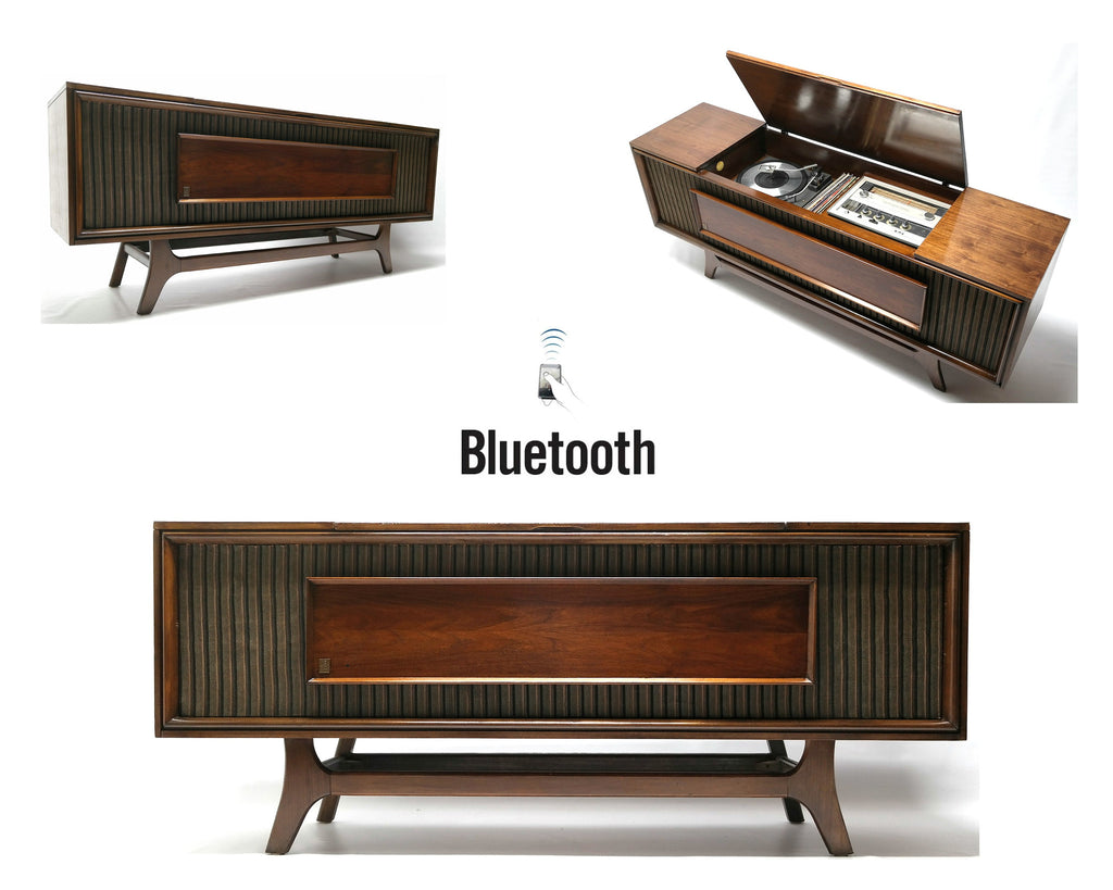 Mid Century Modern GE Vintage Stereo Console - Record Player Changer - AM/FM Tuner - Bluetooth