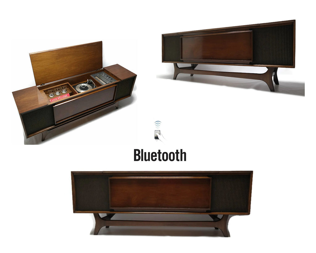 Mid Century Modern GE Super Long and Low Vintage Stereo Console - Record Player Changer - AM/FM Tuner - Bluetooth